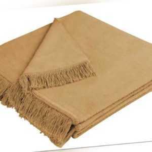Biederlack Kuscheldecke 100x200 Fransen Cover Cotton kamel