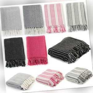 Tagesdecke Bettüberwurf Wohndecke Plaid 100 % Baumwolle