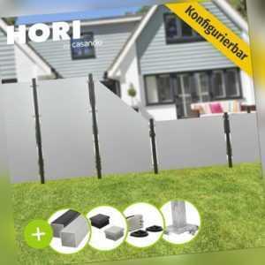 Zaun Gartenzaun Sichtschutzzaun grau Zaunelemente Sichtschutz HPL lichtgrau