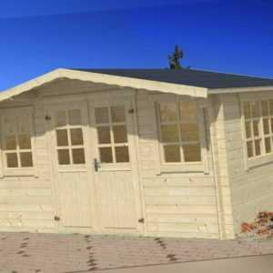 34 mm Gartenhaus Aktion TRUFRE 5 + Schindeln Gerätehaus 4x4 m Blockhaus Holzhaus