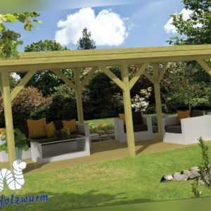 Pavillon Modern Excellent Gartenlaube 590 x 340 cm Pfostenstärke 11,5 x 11,5 cm