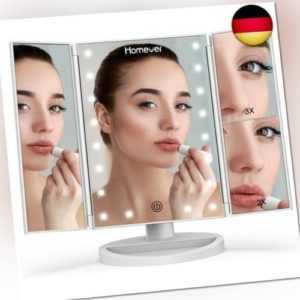 HOMEVER Make-up mirror, 4 sections, cosmetic mirror, table mirror with LED