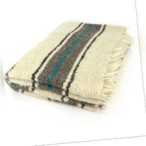 handgewebte Wolldecke Decke Wolle 210 x 220 cm Mittelalterdecke