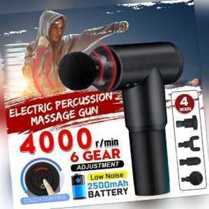 4000r/min Profi Massage Gun Massagepistole Massager Muscle Massagegerät 4 Köpf