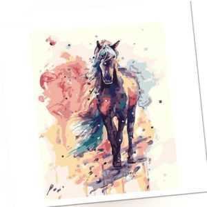 Malen nach Zahlen Set - Acryl Öl Malerei - braunes Pferd abstrakt 50x40cm