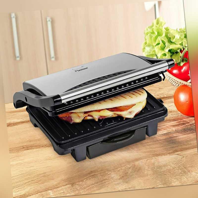 Elektro Tisch Panini Kontakt Grill 1000 W Edelstahl Party Sandwich Maker fettarm