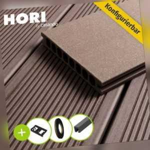 WPC Terrassendielen Komplettbausatz mit UK Royal Rotbraun Terrassenboden