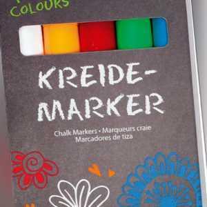 Kreidemarker-Set, folia, fresh colours, Kreidestift, weiß, gelb, rot, blau, grün