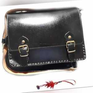 tracolla pelle borsa nera vero cuoio artigianale qualita' 29x21 cm  larga cm 7