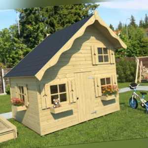 Topgarden Spielhaus TOM, Kinderspielhaus mit Zwischenboden 220 x 180 cm