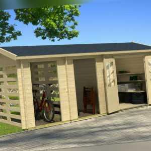 Gartenhaus Hokkaido Blockhaus Gerätehaus Holzhaus Schuppen 570 x 270 cm 28 mm