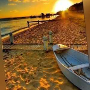 Malen nach Zahlen - Acryl Öl Malerei Sonnenuntergang Strand Meer Boot 50x40cm