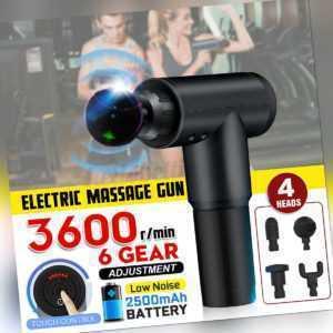 2500mAh Electric Massage Gun Massagepistole Massager Muscle Massagegerät 4 Köpfe