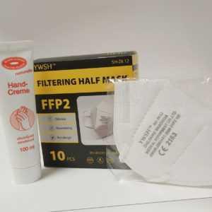 10x FFP2 Masken +  Handcreme gegen trockene Haut nach dem Desinfizieren