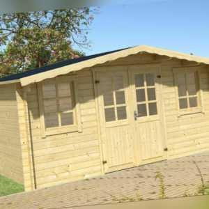34 mm Gartenhaus Aktion ERF5 incl. Schindeln Gerätehaus 4x4 m Blockhaus Holzhaus