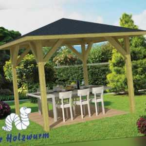 Pavillon Tourist Gartenlaube 340x340 cm 11,5 x 11,5cm Pfosten Pavillion Holz Neu