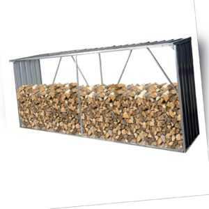 Brennholzlager Holzunterstand HWC-F22 3,35m³ Metall verzinkt 153x353x80cm
