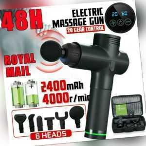 Electric Massage Gun LCD Massagepistole Massager Muscle Massagegerät mit 6 Köpfe