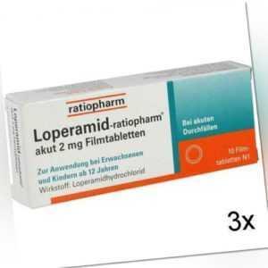 3x LOPERAMID-ratiopharm akut 2 mg Filmtabletten 10 St PZN: 251191