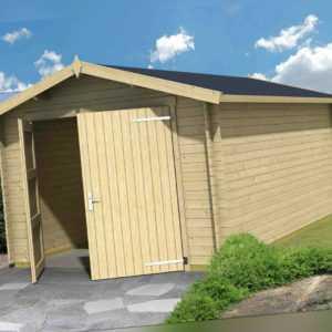 Garage ca. 350x530 cm Gartenhaus Gerätehaus Blockhaus Holzhaus Holzgarage Holz