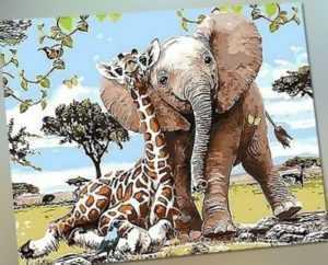 Malen nach Zahlen - Acryl Öl Malerei - Elefant und Giraffe Tiere Cartoon 50x40cm