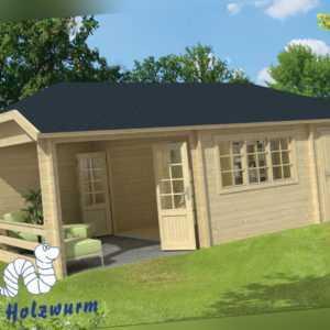 Gartenhaus Viveka ISO Blockhaus 750x420cm Holzhaus 44 mm Anbauschuppen Terrasse
