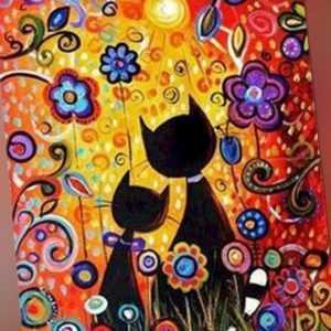 Malen nach Zahlen - Acryl Öl Malerei - Katzen Blumen Sonne Cartoon 50x40cm