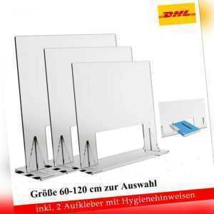60-120cm Spuck-Hustenschutz Thekenaufsatz Schutzscheibe Schutzwand Transparent
