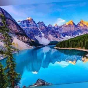Malen nach Zahlen - Acryl Öl Malerei - Berge See Landschaft Wald Natur 50x40cm