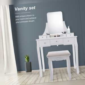 5 Drawers With Mirror Makeup Vanity Table Set Bedroom Dressing Furniture