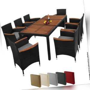 17-teilige Polyrattan Essgruppe Sitzgruppe Gartenmöbel Akazienholz 8 Personen