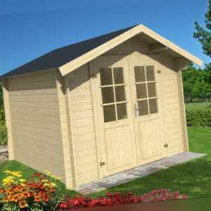 28 mm Gartenhaus Aktion ADI + Schindeln Gerätehaus ca. 3x3 m Blockhaus Holzhaus