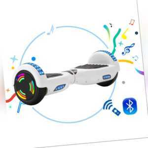 Hoverboard 6,5 Zoll Elektro-Scooter LED Elektroroller Balance Board Weiß+ Tasche