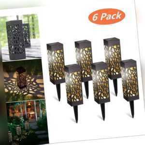 6 Stk LED Solarlampe Solarleuchte Gartenlicht Außen-Beleuchtung Schattenlaterne