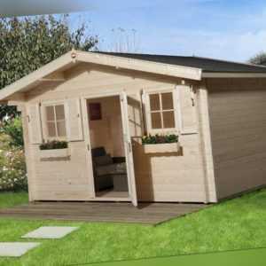 Weka Gartenhaus 135 45 mm natur 10,80 m² inkl. Vordach 60 cm Gerätehaus Schuppen