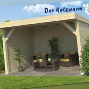 28 mm Gartenlaube Monne ca. 400x300 cm Gartenhaus Blockhütte Pavillon Holzhaus
