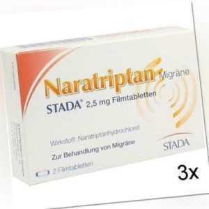 3x NARATRIPTAN Migräne STADA 2,5 mg Filmtabletten 2 St PZN: 9391930