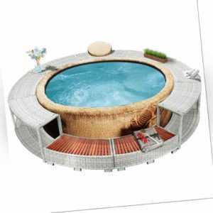 vidaXL Whirlpool Umrandung Poly Rattan Spa Poolumrandung Poolverkleidung