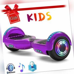 Hoverboard Lila 6,5 Zoll Elektro Scooter Bluetooth E-board Räder Lichter Kinder
