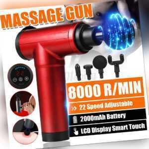 Rot 8000r/min USB LCD Massage Gun Massagepistole Muscle Massager mit 4X Köpfe