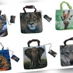 1 Einkaufstasche Wildtiere Einkaufstaschen Falttaschen Stofftasche Stofftaschen