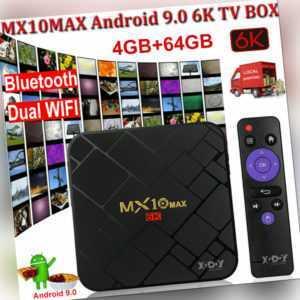 MX10 4+64G 6K Android 9.0 TV BOX 5G WIFI BT4.0 Quad Core HDR Media Player Rabatt