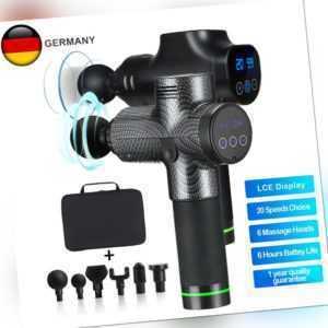 Electric Massagepistole LCD Massage Gun Massager Muscle Massagegerät 4/6/8 Köpfe
