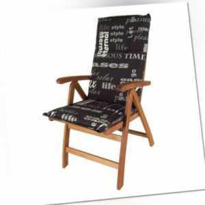 Polster Auflage Hochlehner Lifestyle - Gartenstuhlauflage schwarz - Sitzkissen