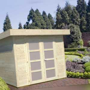 Gartenhaus Lara 250x250 cm Gerätehaus Schuppen Blockhaus Pultdachhaus Holz 28 mm