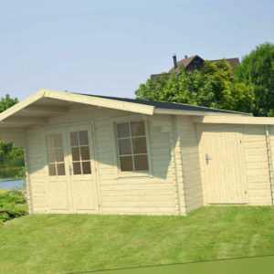 40 mm Gartenhaus 410 x 320 cm + ANBAUSCHUPPEN Holzhaus Blockhaus Gerätehaus Holz