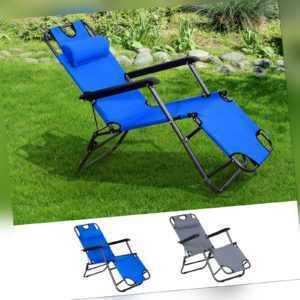 Outsunny Sonnenliege klappbar Gartenliege verstellbar Liegestuhl Grau/Blau
