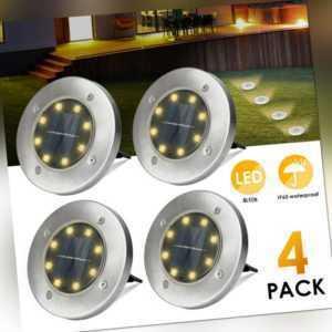 4X LED Solarleuchte Bodenstrahler Außen IP65 Gartenleuchten Garten Solarlampen