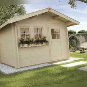 Weka Gartenhaus 139 45 mm natur 7 m² inkl. Vordach 60 cm Gerätehaus Schuppen