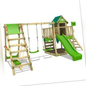 FATMOOSE Spielturm Stelzenhaus JazzyJungle mit Surfanbau & apfelgrüner Rutsche